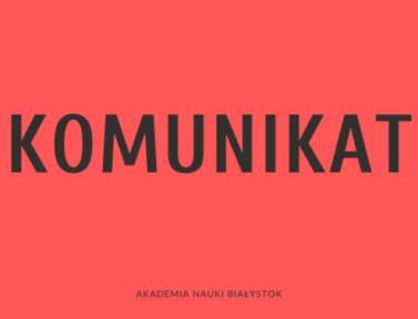 KOMUNIKAT – w sprawie sytuacji spowodowanej koronawirusem